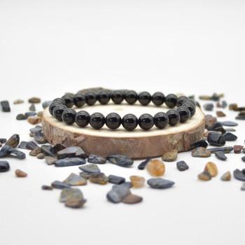 "Black Agate Gemstone Round Beads Sample strand / Bracelet - 8mm - 7.5"""
