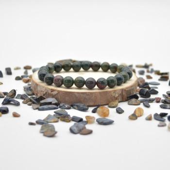 "Bloodstone Gemstone Round Beads Sample strand / Bracelet - 8mm - 7.5"""