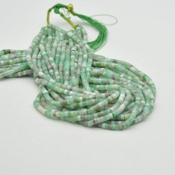 "Light Chrysoprase Gemstone Heishi Rondelle Disc Beads - 4mm x 2mm - 15.5"""