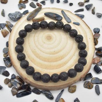 "Black Lava Gemstone Round Beads Sample strand / Bracelet - 8mm - 7.5"""