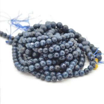 "High Quality Grade A Natural Blue Spinel Semi-precious Gemstone Round Beads - 6mm, 8mm sizes - 15.5"" strand"