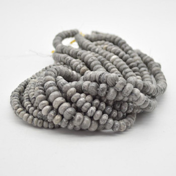 """High Quality Grade A Natural Grey Crazy Lace Agate Semi-precious Gemstone Rondelle / Spacer Beads - 6mm, 8mm, 10mm - 15.5"""" strand"""
