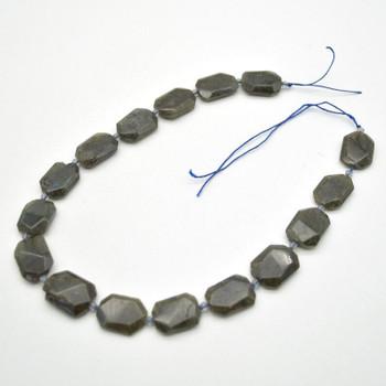 "High Quality Grade A Natural Labradorite Semi-precious Gemstone Faceted Cross Drilled Rectangle Pendants / Beads - 15.5"" strand"