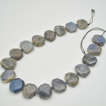 """High Quality Grade A Natural Labradorite Semi-precious Gemstone Faceted Side Drilled Rectangle Pendants / Beads - 15.5"""" strand"""
