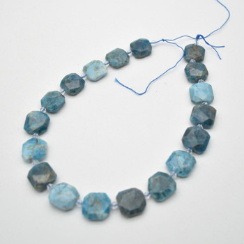 """High Quality Grade A Natural Apatite Semi-precious Gemstone Faceted Square Pendants / Beads - 16mm - 18mm - 15.5"""" strand"""