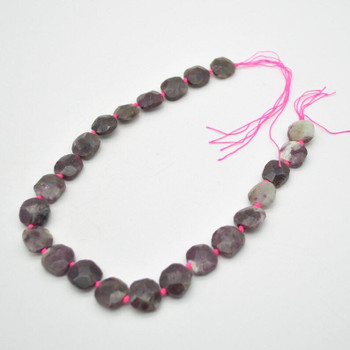 """High Quality Grade A Natural Pink Tourmaline Semi-precious Gemstone Faceted Square Pendants / Beads - 14mm - 15mm - 15.5"""" strand"""