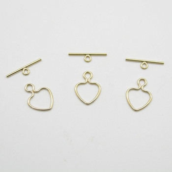 14K Gold Filled Findings - Gold Filled Heart Toggle Set  - 10mm Ring - 1 Count - Made in USA