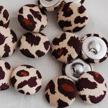 100 Fabric Covered Buttons - Leopard Print - 2cm