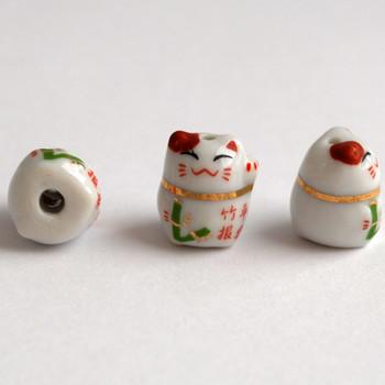 5 Maneki Neko Lucky Cat Porcelain Bead - Feng Shui - Bamboo Safe and Sound