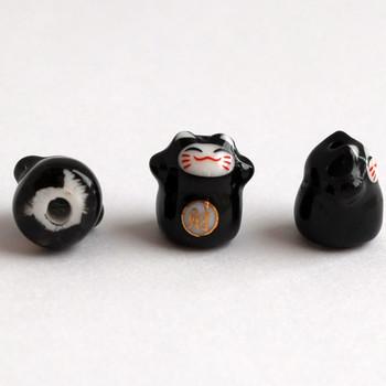 5 Maneki Neko Lucky Cat Porcelain Bead - Feng Shui - Wealth - Black