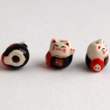 5 Maneki Neko Lucky Cat Porcelain Bead - Feng Shui - Fortune