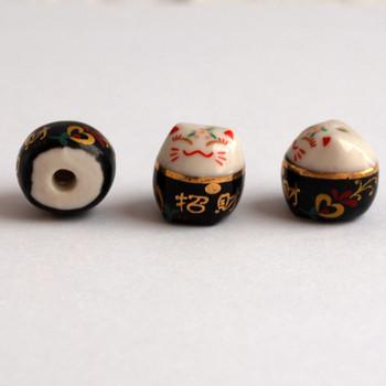 5 Maneki Neko Lucky Cat Porcelain Bead - Feng Shui - Bring Fortune Heart - Black