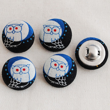 100 Fabric Covered Buttons - Night Owl - 2cm