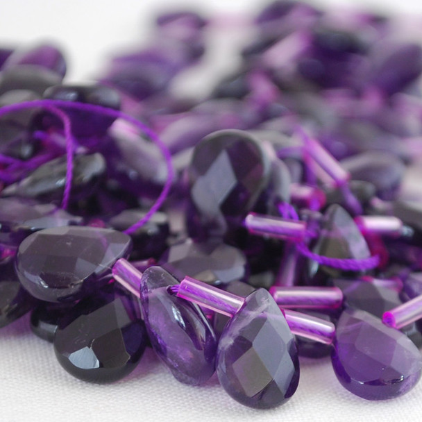 10 x High Quality Grade A Natural Amethyst Beads Faceted Teardrop 12mm 14mm 18mm