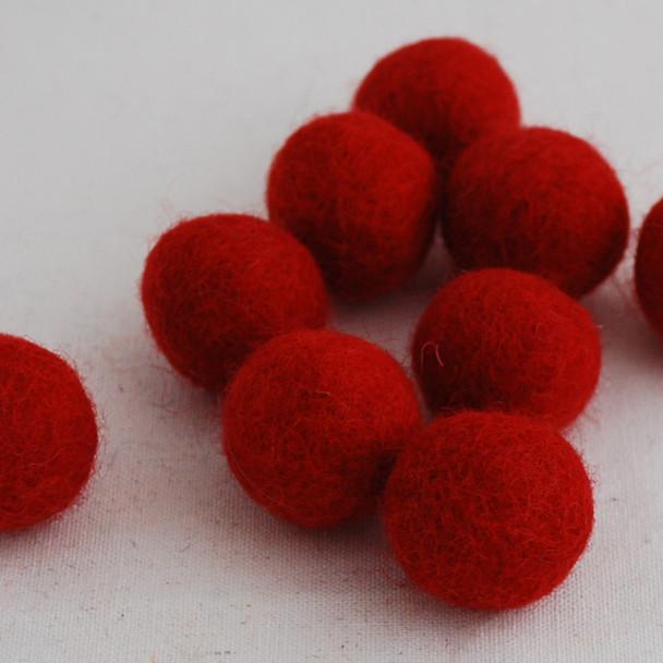 100% Wool Felt Balls - 10 Count - 2.5cm - Red