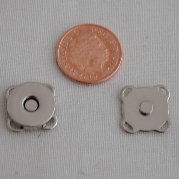 5 Sets Sew On Magnetic Snap Button Bag Clasp - 14mm - Silver