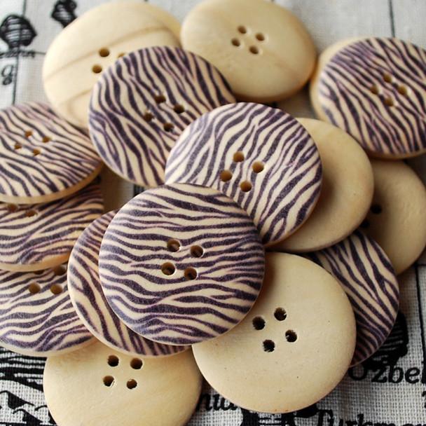 10 Animal Print Wood Buttons - Zebra Print - 3cm