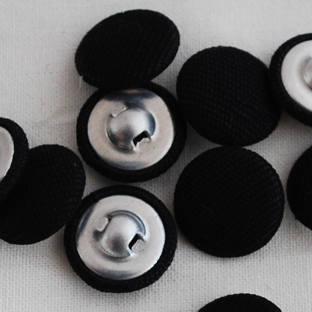 10 Fabric Covered Buttons - Black - 1.4cm, 2cm, 2.8cm sizes