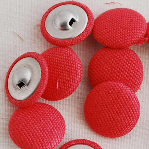 10 Fabric Covered Buttons - Coral - 1.4cm, 2cm, 2.8cm sizes