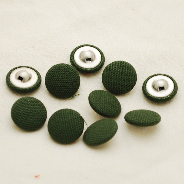 100 Fabric Covered Buttons - Dark Moss Green - 1.4cm, 2cm, 2.8cm sizes