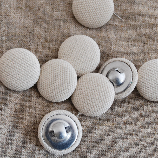 100 Fabric Covered Buttons - beige -  2cm, 2.8cm sizes