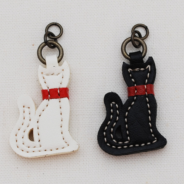 Japanese Synthetic Leather Charm - Black or White Cat