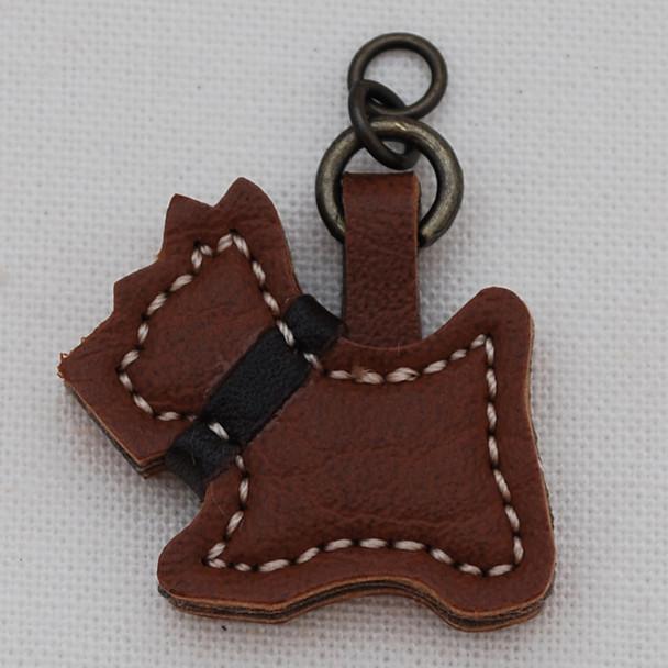 Japanese Synthetic Leather Charm - Schnauzer Dog