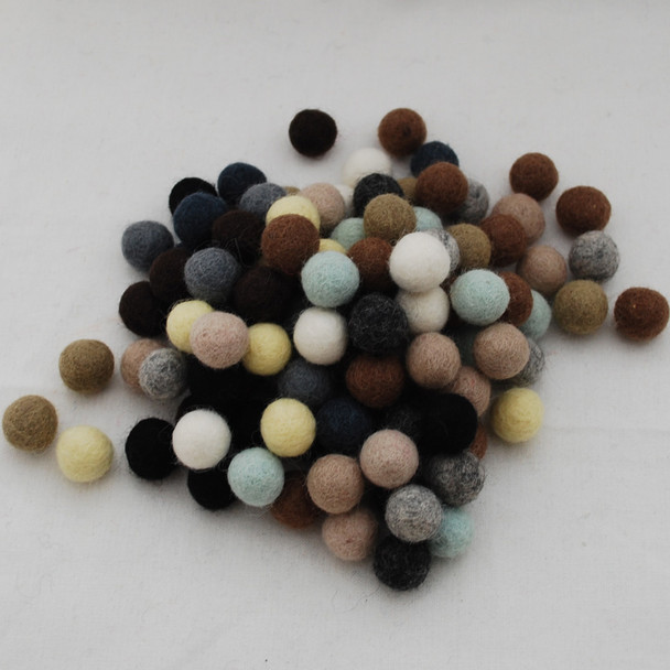 100% Wool Felt Balls - 100 Count - 1.5cm - Neutral Colours