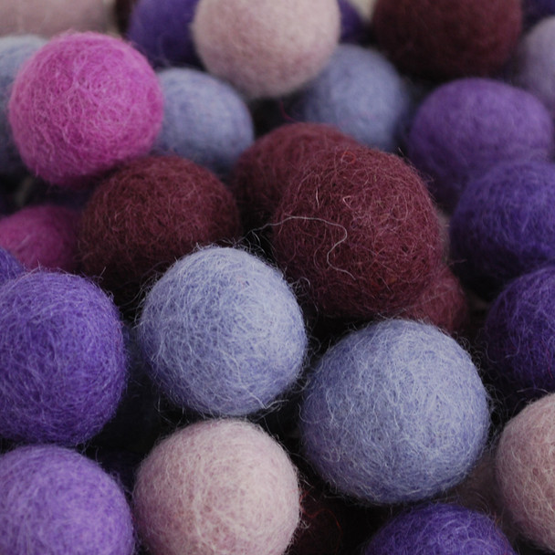 100% Wool Felt Balls - 100 Count - 2cm - Purple Colours