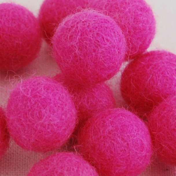 100% Wool Felt Balls - 10 Count - 2cm - Hot Pink