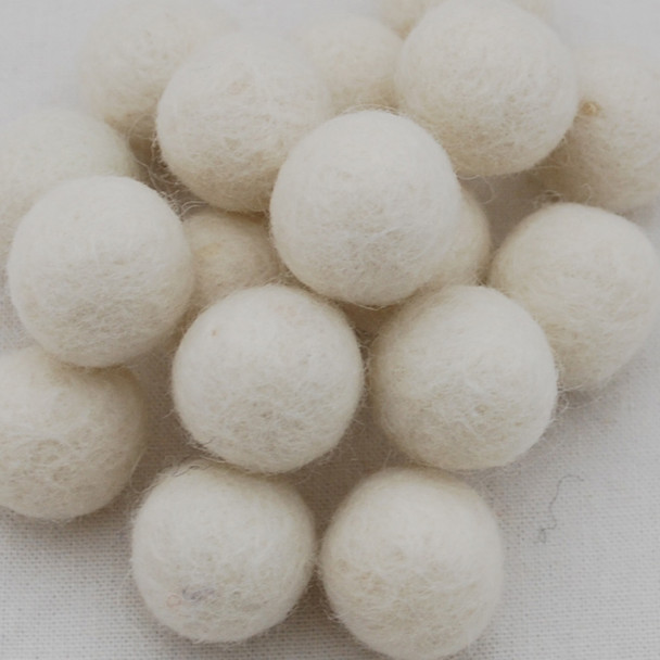 100% Wool Felt Balls - 2cm - Ivory White - 20 Count / 100 Count