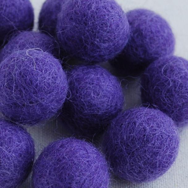 100% Wool Felt Balls - 2cm - Lavender - 20 Count / 100 Count