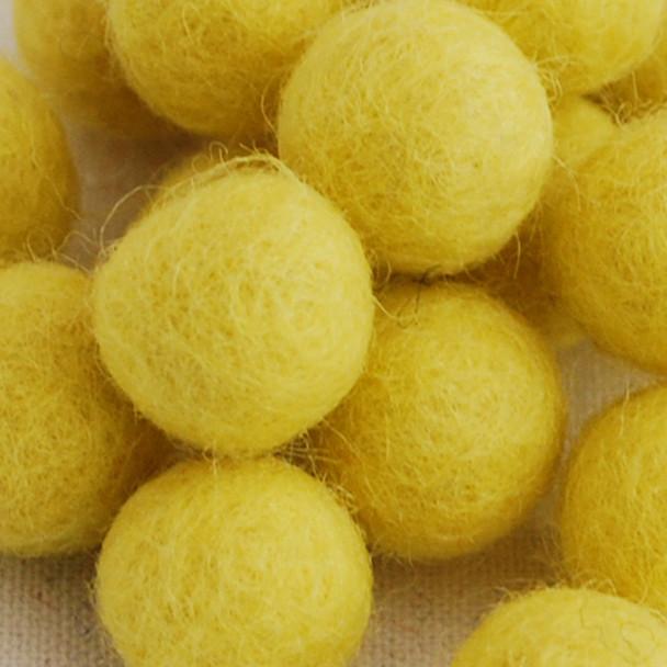 100% Wool Felt Balls - 10 Count - 2cm - Yellow