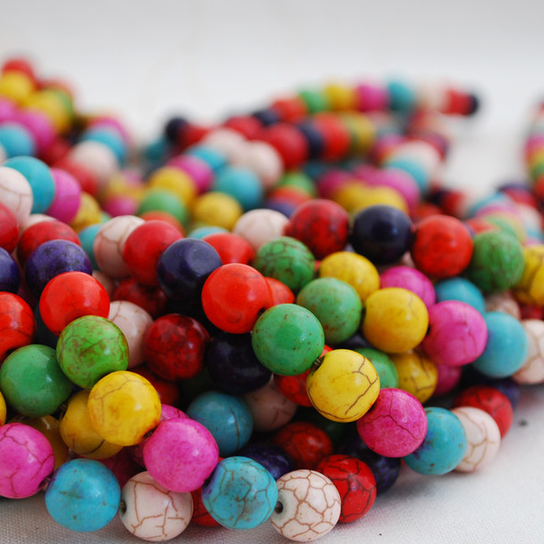 Mixed Colour Turquoise (dyed) Semi-precious Gemstone Round Beads 4mm, 6mm, 8mm, 10mm