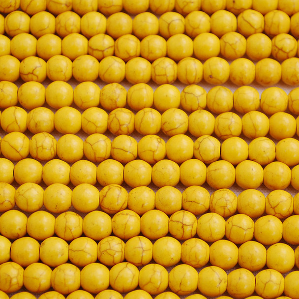 Yellow Turquoise (dyed) Semi-precious Gemstone Round Beads 4mm, 6mm, 8mm, 10mm