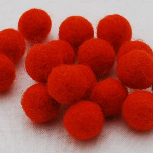 100% Wool Felt Balls - 10 Count - 1.5cm - Tangelo Orange