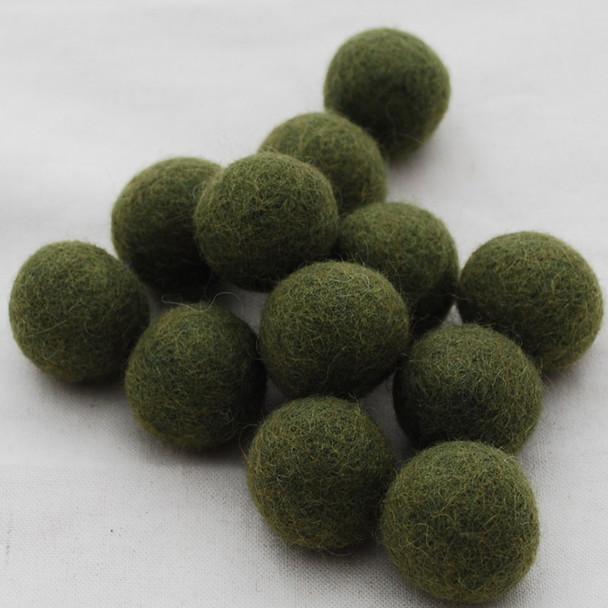100% Wool Felt Balls - 10 Count - 2.5cm - Dark Olive Green