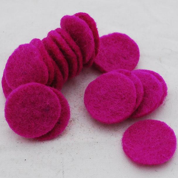 100% Wool Felt Die Cut Circles - 3cm - 10 Count - Garden Rose Pink