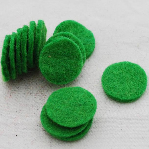 100% Wool Felt Die Cut Circles - 3cm - 10 Count - Green Flash