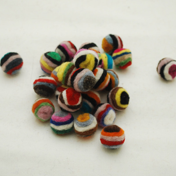 Assorted 100% Wool Striped Felt Balls - 20 Count - 1.5cm