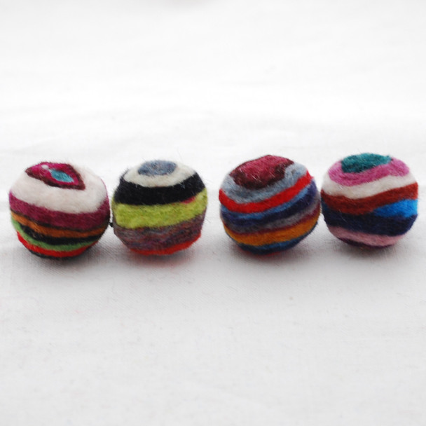 Assorted 100% Wool Striped Felt Balls - 20 Count - 2cm