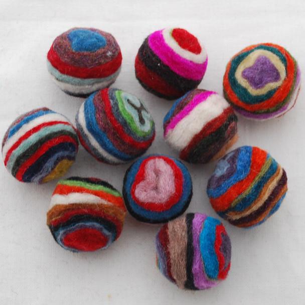 Assorted 100% Wool Striped Felt Balls - 20 Count - 2.5cm