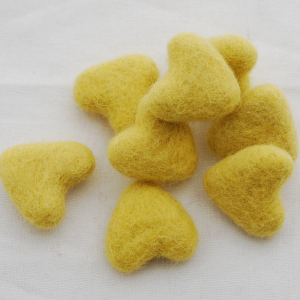 100% Wool Felt Hearts - 5 Count - approx 3cm - Yellow