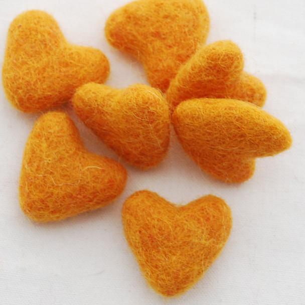 100% Wool Felt Hearts - 5 Count - approx 3cm - Orange