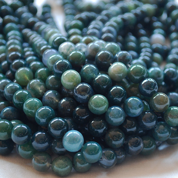 High Quality Grade A Natural Moss Agate Semi-precious Gemstone Round Beads 4mm, 6mm, 8mm, 10mm, 12mm