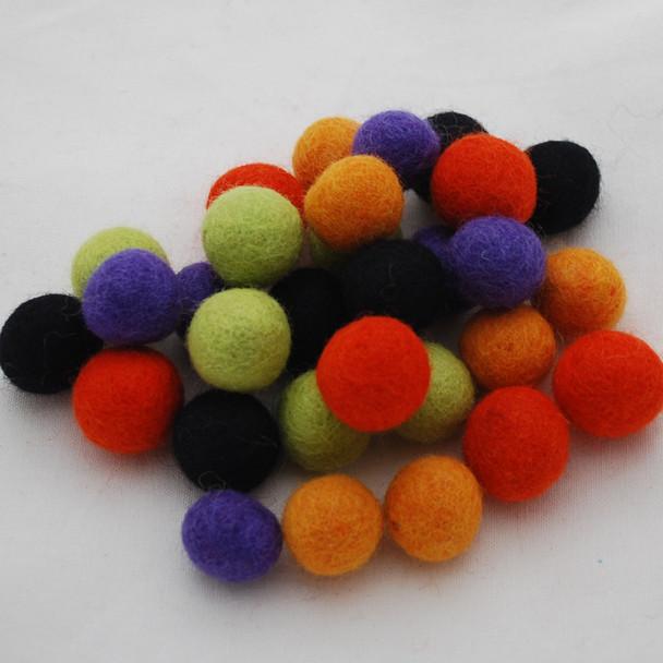 100% Wool Felt Balls - 30 Count - 2cm - Halloween