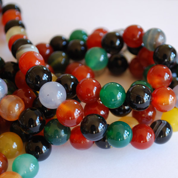 High Quality Grade A Mixed Colour Agate Semi-precious Gemstone Round Beads 4mm, 6mm, 8mm, 10mm