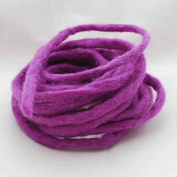 100% Wool Felt Cord - Handmade - 3 Metres - Amethyst Purple