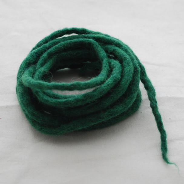 100% Wool Felt Cord - Handmade - 3 Metres - Dark Green