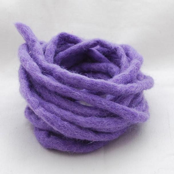 100% Wool Felt Cord - Handmade - 3 Metres - Lavender Purple